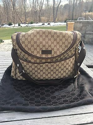 Gucci Diaper Bag Tan Canvas Brown Leather With Pad $1,150