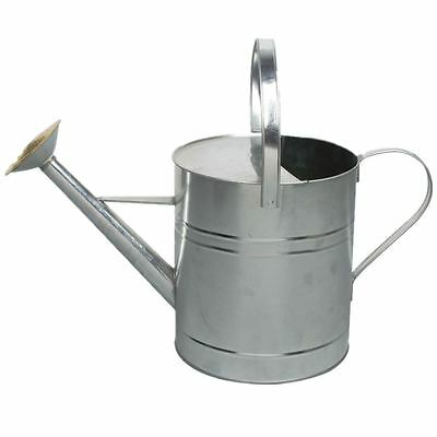 Colour Galvanised Metal Steel Watering Can 9 Litre with Brass Rose GALVANISED