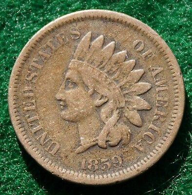 1859 Indian Head Cent, Unique One Year Type Coin, Fine Condition.