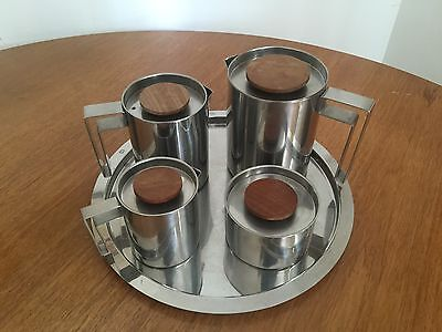 Vintage Jacobsen Style Stainless Steel Tea Coffee Set