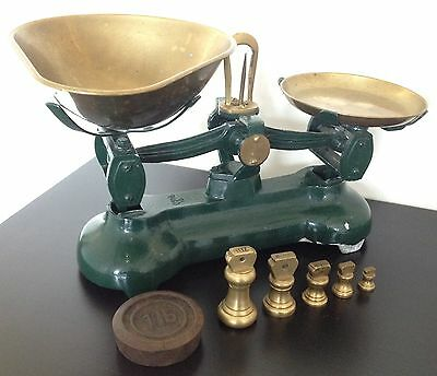 Vintage Librasco Green Iron Weighing Scales Kitchen Balance Brass Imperial Chic