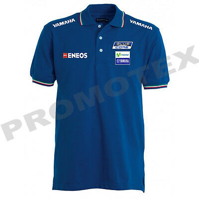 polo yamaha factory movistar cotone bordi tricolore corse italia racing tshirt