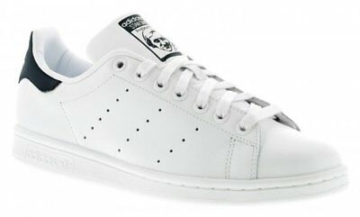 Adidas Originals Mens Stan Smith Leather Trainers White With Navy Heel (#9561)