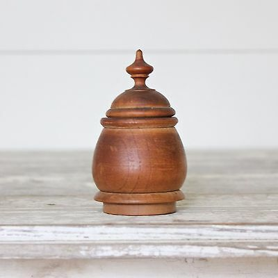 Handsome 19th C. Antique Well Turned Wood Container Spice Box