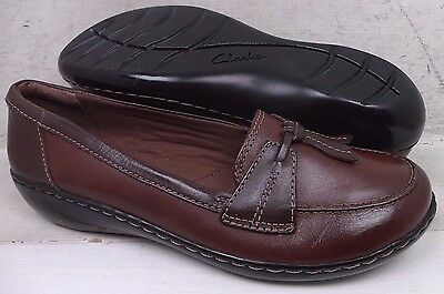 Clarks Womens Ashland Bubble Brown Leather Slip On Loafers 67330 Shoes size 10 M
