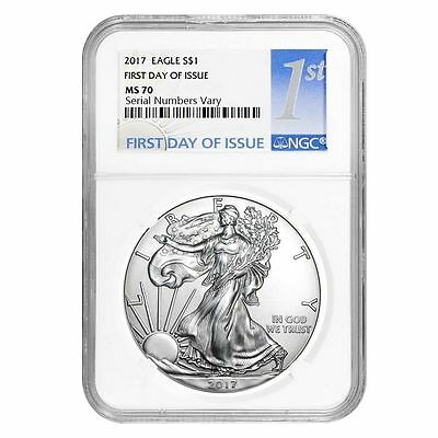 2017 $1  Silver Eagle   NGC MS70   'First Day of Issue'   1st Label
