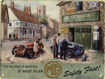 New 15x20cm MG Car & Garage small metal advertising wall sign