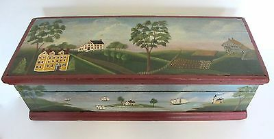 Vintage Artist Paint Wood Box With Landscape American?