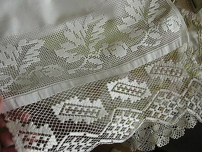 "Fabulous Antique Linen Long Runner With Delicate Hand Made Lace Ends, 15X58"" !"