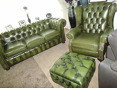 Queen Ann Leather Chesterfield Wing Back Chair & sofa  -stunning