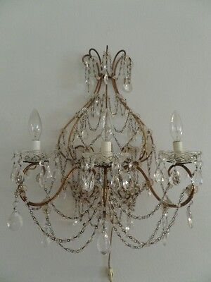 Stunning Huge French Antique Macaroni Beaded Wall Light Sconce Crystals Prisms