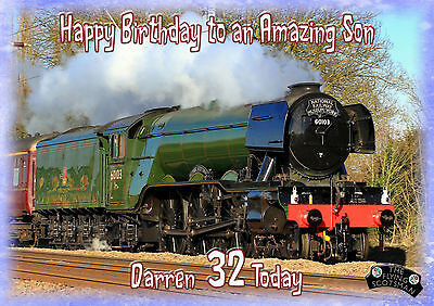 Personalised birthday card Flying Scotsman train son grandson husband brother
