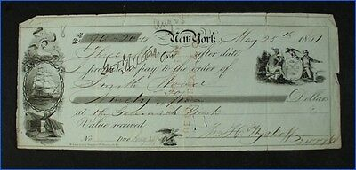 Vintage 1861 Greenwich Bank Check, Maritime Theme, Signed Wm H. Wyckoff