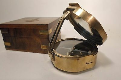 Brass reproduction Brunton-style naval or surveying compass with exciting box