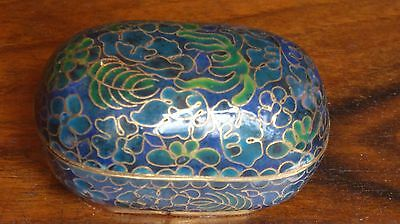 Vintage Chinese cloisonne blue and green box