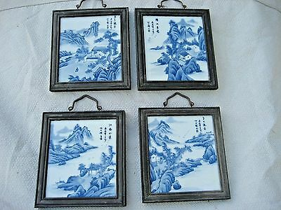 Four Signed Antique Chinese Blue &White Hand Painted Porcelain Framed Placques