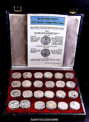 1972 Munich, Germany Olympics 24 Silver Commemorative Coin Collection in Box