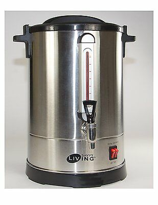 Savvy Commercial Living Hot Water Urn 40 Cups Brushed Stainless Steel Metal