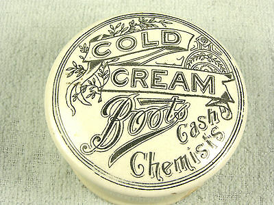 C1850s Advertising Pottery Cold Cream Jar - Boots Cash Chemists