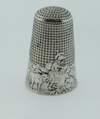 Antique French Sterling Thimble Les Fables De La Fontaine Wolf Turned Shephard