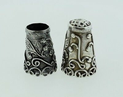 Antique Mexico Taxco Sterling Silver Thimble Ornate Scroll - Set of 2
