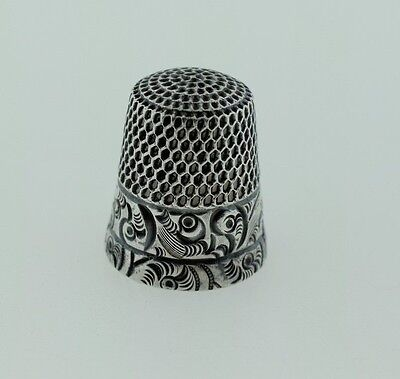 Antique Sterling Silver Stern Brothers Thimble Ornate Scroll Size 8