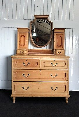 Antique pine mirror dressing table / chest of drawers Maple and Co