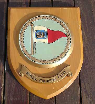 Marine Maritime Vintage Royal Cruising Club Burgee Ships Plaque Hand Painted