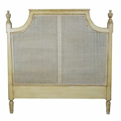 French Rattan Headboard 4ft6 Double, Mahogany Frame Country Shabby Chic