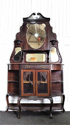 Antique ornate carved Victorian display cabinet / chiffonier sideboard