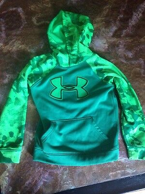 Under Armour Storm Coldgear Big Logo Green/camo Hoodie Youth Small