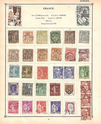 Vintage Collection of 88 France Postage Stamps on Old Album Pages