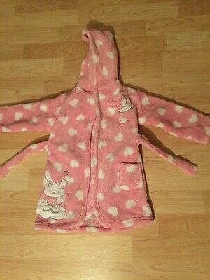 Baby Girls Dressing Gown Light Pink Heart Pattern Age 6-12 Months