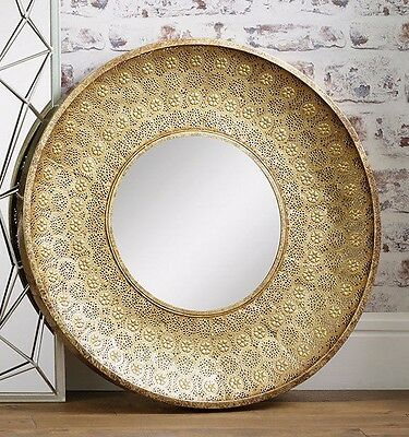 Large Gold Moroccan Style Wall Mirror 80cm Contemporary Statement Piece Unique
