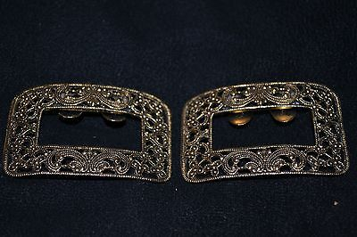 Vintage  Stamped MUSI Filigree Gilt Shoe Buckles