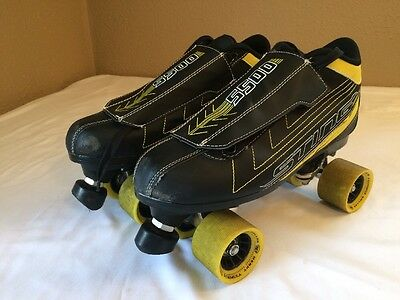 Roller Derby Men's Sting 5500 Quad Roller Skate Black Yellow Size 9 Trac Control