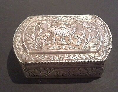 Vintage Solid Silver Embossed Box  188g