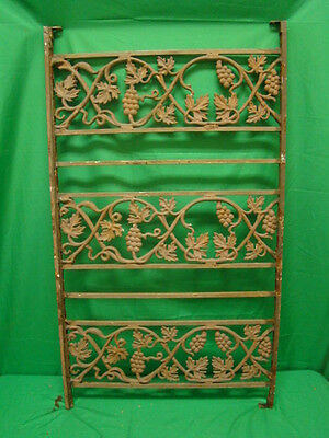 Antique Iron fence  panel Victorian Ornate  grape clusters 1800's B