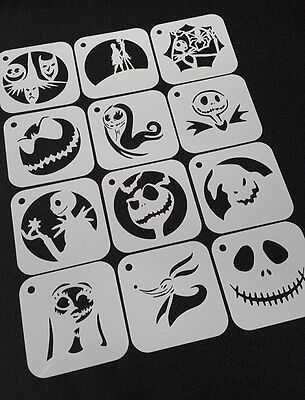 Set of 6pcs or 12pcs NIGHTMARE BEFORE CHRISTMAS Style Airbrush Paint Stencils