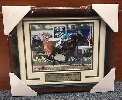 Victor Espinoza American Pharoah Belmont Stakes Auto Signed Framed 8X10 STEINER