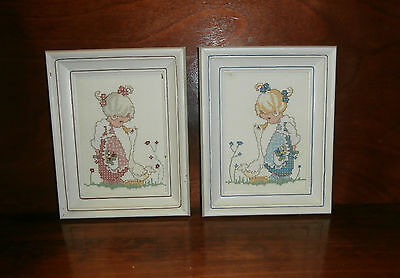 """2 Precious Moments Finished Framed Cross Stitch Pictures 7.25"""" x 9.25"""" Duck"""