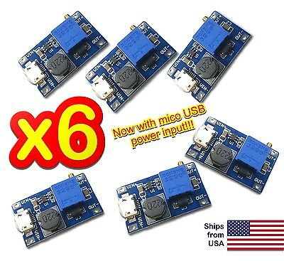 6pcs MT3608 DC 2A Step Up Power Booster Module 2v-24v Boost Converter Arduino US