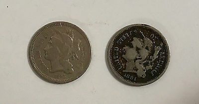 1866 and 1881 Three (3) Cent Nickel