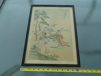 OLD VINTAGE SIGNED CHINESE SILK PAINTING on Silk ASIAN ANTIQUE Japanese