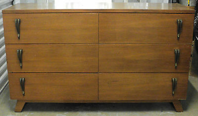 Mid Century Modern Dresser with Designed with Brass Pulls on One Side