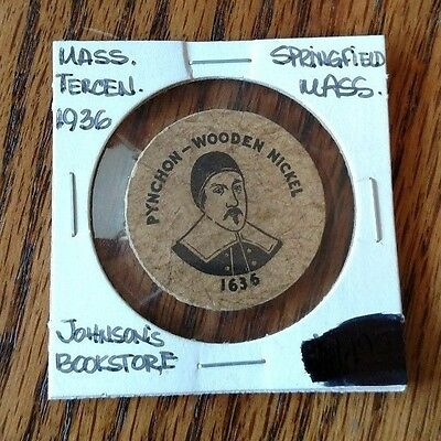 1936 Johnson's Bookstore, Springfield, Mass Wooden Nickel