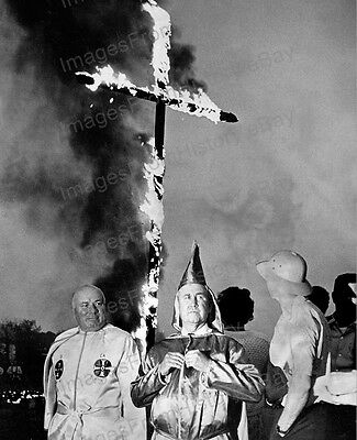8x10 Print Ku Klux Klan Imperial Wizard Cross Burning 1965 #KKK102