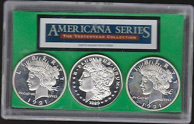 Tribute Silver Dollars ~ Set Of 3 In Lens Plated Great Looking Item
