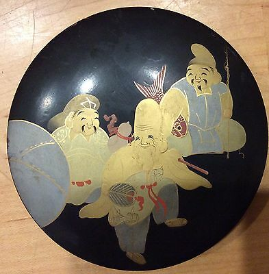 Antique Japanese Black Lacquer Wood Box w/ 6 Coasters Gods of Fortune Gold