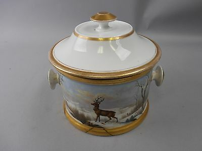 Antique Sevres Hand Painted French Covered Bowl Stunning Stag/Boar Signed 1848